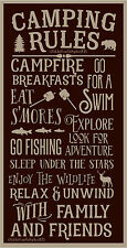 PRIMITIVE STENCIL CAMPING RULES  12X24 .007 MIL FREE SHIPPING