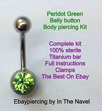 Body piercing kit. belly button, PERIDOT GREEN. Professional sterile kit.