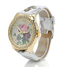 Fashion Women's Flower Dial Leather Stainless Steel Analog Quartz Wrist Watch