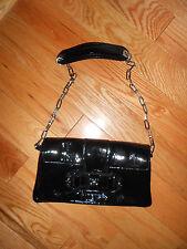 Jill Stuart Black Patent Leather Handbag with Silver Chain