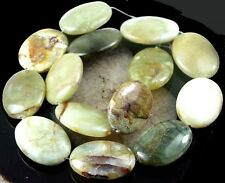 30x20mm Natural Flower Jade Oval Beads 16""