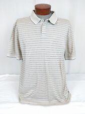 Turnbury Mens Beige Tennis Shirt Golf Polo Stripe Cotton Short Sleeved Size L