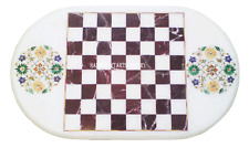 4'x2' Marble Dining Chess Table Top Inlay Work  Floral Marquetry Decor Art H2477