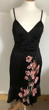 Beautiful Silk Satin Tulip Embroidered Dress By Karen Millen Black Size 10