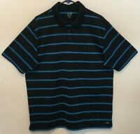Champion Duo Dry Mens Polyester Black with Blue Stripes Polo Golf Shirt Size XL