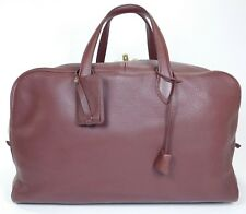 $6450 HERMES Victoria 50 Leather Duffle Bag Suitcase Travel Tote Burgundy A1051