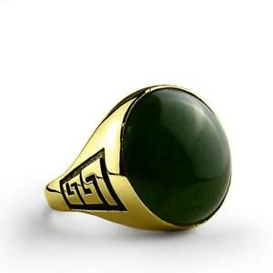 Gothic Style Mens Ring Real 10K SOLID GOLD with Large Green Natural Agate All Sz
