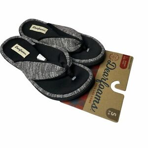 Dearfoams Memory Foam Womens Flip Flop Thing Slipper Knit Black S 5-6 New