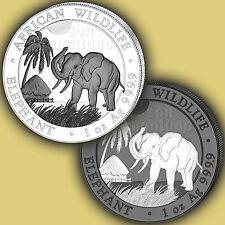 2017 Somalia Elephant BLACK & WHITE 2 COIN SET - 1 oz Silver Colorized Ruthenium