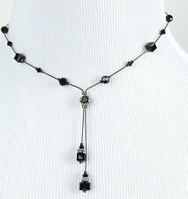 DABBY REID NEW Jet Black Crystal Double Dangle Y Necklace HDN3181BY31