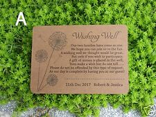 20 Personalised WISHING WELL CARDS Kraft Stock General Poem Wedding Invitations