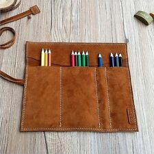 Soft Genuine Leather Pencil Roll Pen Pencil Case Wrap Rustic Artist Drawing New