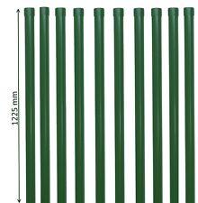 10 Zaunpfähle rund Metall Ø 34 mm in grün f. 1m Zaun-Anlage Schweiß-gitter-draht