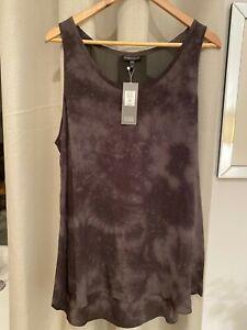 NWT Eileen Fisher Silk Sleeveless Top Tank Tunic Size XL Gray Black Tie Dye