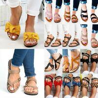 Womens Slide T-Strap Cork Footbed Platform Flip Flops Shoes Mules Flats Sandals