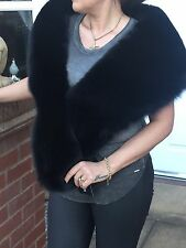 Real Black Fox Fur Stole Wrap, New With Tags