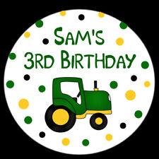108 Hershey Kiss Stickers -Farm Birthday Party - Tractor Design - Polka D