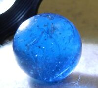 #10418m Vintage German Handmade Blue Glass Mica Marble .68 Inches
