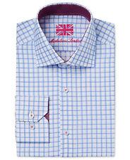 $285 MICHELSONS LONDON Men's SLIM-FIT BLUE WHITE CHECK LONG-SLEEVE DRESS SHIRT M