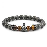 Men Charm Bracelet CZ Sparta Helmet 8mm Labradorite Tiger Eye Beads Jewelry