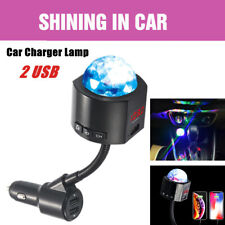 2 USB Port Car MP3 Player Transmitter Charger Adapter With Atmosphere Roof Lamp