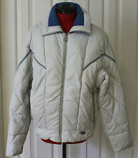 Vintage 80s Mountain Goat White Quilted Puffy Ski Coat / Winter Jacket Mens L