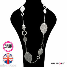 NEW SILVER LEAFS CHAIN DROP STATEMENT NECKLACE CHAIN WOMENS FESTIVAL MULTILAYER