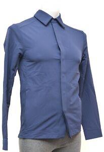 Rapha Long Sleeve Cycling Softshell Overshirt Men XS Blue Snap Button Casual