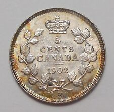 1902H LARGE H Five Cents Silver AU HIGH Grade Colorfully TONED 1st Edward VII 5¢