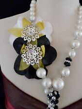 Statement Necklace Long 50cm Chain & multi Bead - Cream Black Beads Flower 124BK