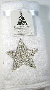 Decorative Holiday  Embroidered Finger Tip Towels Set  Gold Star Cotton 2 Pk..