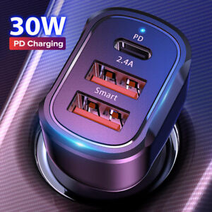 30W PD Type-C Fast Car Charger Dual USB Adapter For Samsung iPhone 12 11 Pro Max
