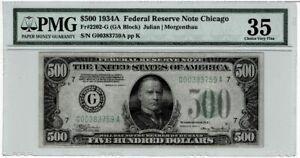Scarce $500 1934A   FR 2202-G Chicago PMG VF35 Cert# 5004366-016