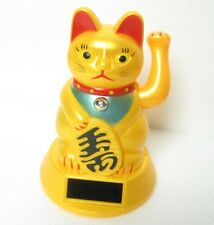 "Solar Powered Maneki Neko Golden Beckoning Kitty Wealth Cat Toy Feng Shui  4.5"""