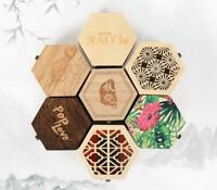 Small hexagonal Wooden Jewelry Storage Box Necklace Earring Cosmetics Case Gift