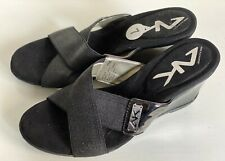NEW! ANNE KLEIN SPORT AK LEAF BLACK WEDGES SANDALS SHOES 7 37 $69 SALE