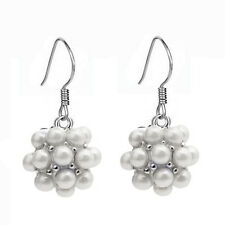 Beautiful Silver & White Pearls Cluster Ball Drop Dangle Earrings Bridal E662
