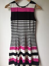 AQUA Black Fuchsia Pink White Striped Sheath Tank Dress Size S Women's Sleeveles