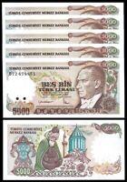 Turkey 5000 Lira 1985 (1970), UNC, 5 Pcs Consecutive LOT, P-197 Mevlana Prefix B