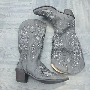 Western Boots Women Inlay Crystal wedding glitter boot mid calf rhinestone