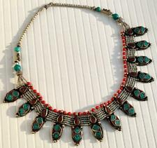 Turquoise Coral Handmade Nepalese Necklace New Tibetan Stunning Silver Plated