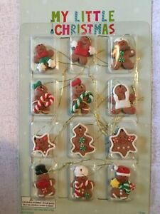 My Little Christmas Gingerbread Cookies 12 pc NEW Mini Christmas Tree Ornaments