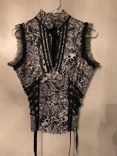 Livind Dead Souls Black And White Corset Skulls Top Gothic