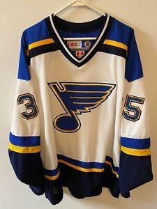 St. Louis Blues White Brent Johnson Jersey Large Penguins Goalie CCM Rare
