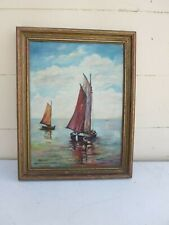 Lovely Framed Vintage Nautical Sailing Oil on Canvas Painting signed Z. Lennon