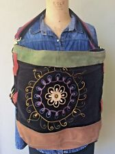 Lucky Brand Purse Runaway Suede Velvet Embroider Bucket Tote Crossbody Large XL