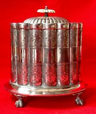 More details for antique c1872 shaw & fisher silver plated pewter britannia metal biscuit barrel