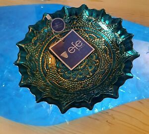 EFE GLASS DECORTIVE TURKISH  HAND MADE BOWL / CANDY DISH   100 % GENUINE SILVER