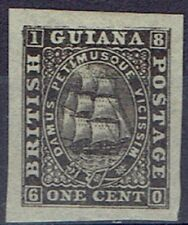 British Guiana 1863 1c imperforate proof in black on thin paper with BPA cert