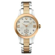 Bulova Accutron Watch Women's Masella Collection 8 Diamond Watch Two Tone Band